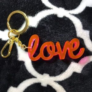 "Hot pink ""love"" keychain"